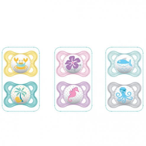 MAM ANATOMICAL SILICONE PACIFIER 0-6 MONTHS CLASSIQUE COLLECTION X 2