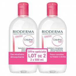 BIODERMA CREALINE H2O SANS PARFUM 500ML LOT DE 2