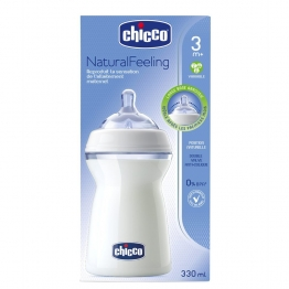 CHICCO NATURAL FEELING BIBERON COL LARGE DEBIT VARIABLE 3 MOIS ET PLUS 330ML