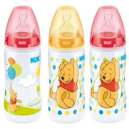 NUK COFFRET BIBERONS WINNIE TETINE SILICONE FIRST CHOICE TAILLE 1M 0-6 MOIS  3X300 ML