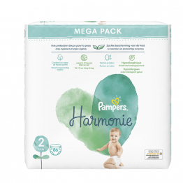 Couches Taille 2 x86 Harmonie 4 à 8kg Pampers