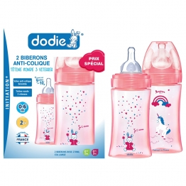 DODIE COFFRET INITIATION+ FILLE 2 BIBERONS TETINES DEBIT 2 - 270ML