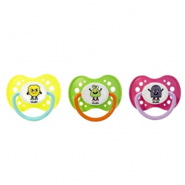 DODIE ANATOMICAL SILICONE PACIFIER WITH RING FLUO MONSTERS COLLECTION FROM 18 MONTHS