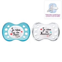 DODIE SUCETTES ANATOMIQUES SILICONES 2EME AGE NUIT DUO + 6 MOIS X2
