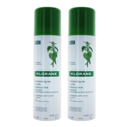 KLORANE SHAMPOOING SEC SEBOREGULATEUR A L'EXTRAIT D'ORTIE (SPRAY) 2X150ML