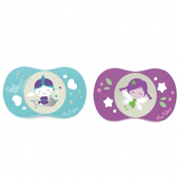 LUC ET LEA SYMMETRICAL SILICONE PACIFIERS LES LUDIQUES SPECIAL NIGHT COLLECTION FROM 18 MONTHS