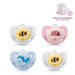 NUK SUCETTES PHYSIOLOGIQUES EN SILICONE FREESTYLE TAILLE 1 0-6 MOIS X2