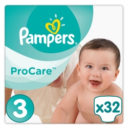 PAMPERS PROCARE PREMIUM PROTECTION TAILLE 3 5-9 KG 32 COUCHES