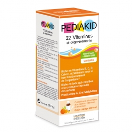 PEDIAKID 22 VITAMINES & OLIGO-ELEMENTS SIROP ORANGE ABRICOT 250ML