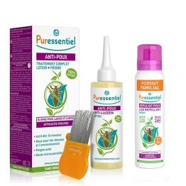 PURESSENTIEL COFFRET ANTI-POUX SPRAY REPULSIF 200ML + LOTION 100ML + PEIGNE + CHARLOTTE OFFERTE