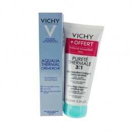 VICHY AQUALIA THERMAL CREME RICHE 40ML + DEMAQUILLANT 3-EN-1 100ML