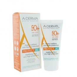 A-DERMA SOLAIRE PROTECT AC FLUIDE MATIFIANT TRES HAUTE PROTECTION SPF50+ 40ML