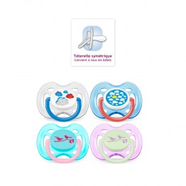 AVENT SUCETTES SILICONE ORTHODONTIQUES DECOREES 0-6 MOIS X2