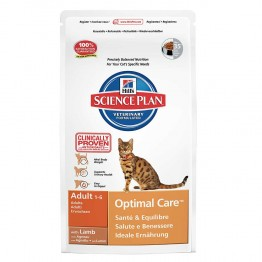 HILLS SCIENCE PLAN OPTIMAL CARE CHATS ADULTES 1 A 6 ANS CROQUETTES AGNEAU 2KG