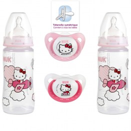 NUK COFFRET 2 BIBERONS 300 ML + 2 SUCETTES PHYSIOLOGIQUES TAILLE 1 HELLO KITTY 0-6 MOIS