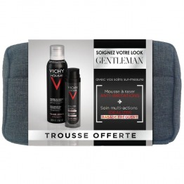 VICHY HOMME IDEALIZER TROUSSE NOEL 2015 SOIN MULTI ACTION PEAU RASEE 50ML + MOUSSE A RASER 200ML