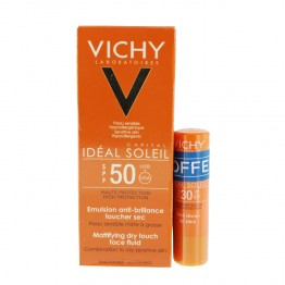 VICHY IDEAL SOLEIL EMULSION ANTI BRILLANCE VISAGE SPF50 50ML + STICK LEVRES SPF30
